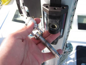 The pin on the Harken car worked itself loose when the lower shackle opened.